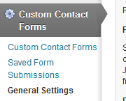 Custom Contact Form settings