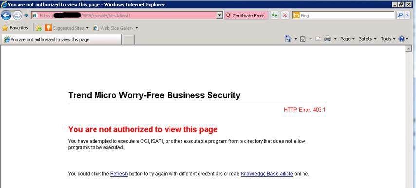 Trend Antivirus install error - you are not authorized to view this page