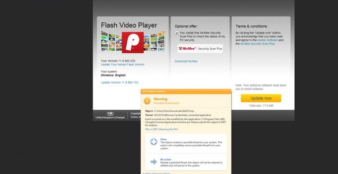 Fake Adobe Flash Player download page