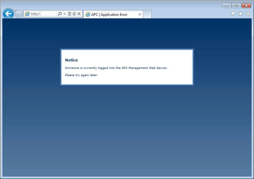 APC login error