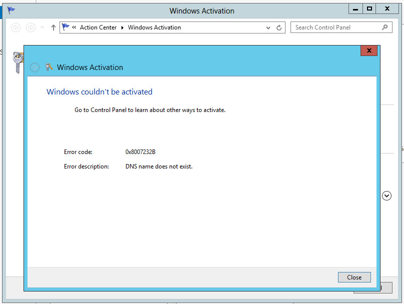 Windows couldn't be activated DNS name does not exist