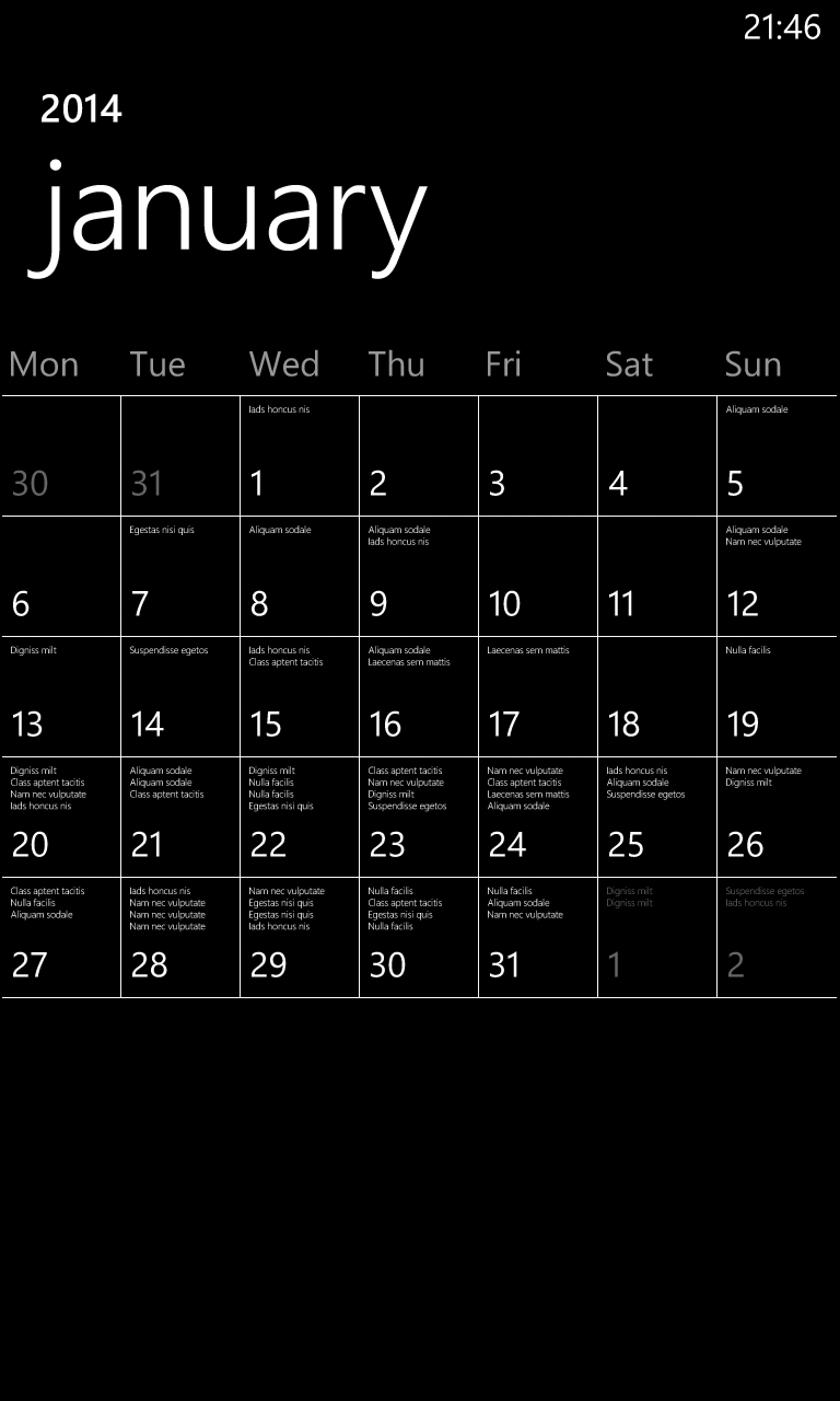 Lorem Ipsum on the Windows Phone calendar